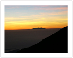 Mount Agung Bali view from Sembalun crater rim Sunset view