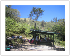 Resting time at post Rinjani Mountain Lombok island
